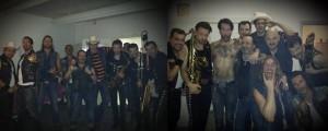 Auf Facebook gepostet: The Boss Hoss vor (links) und nach ihrem Konzert (rechts).